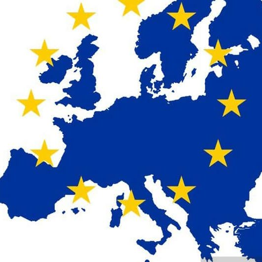 gold eu stars on map of blue europe