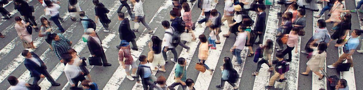 Crowded zebra crossing