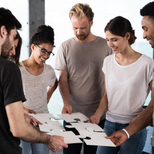 Team,Of,Businessmen,Work,Together,For,One,Goal.,Concept,Of